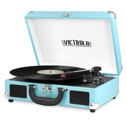 Portable Victrola Suitcase Record Player with Bluetooth and 3 Speed Turntable, TRQ