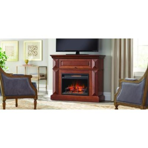 Home Decorators Collection Coleridge 42 in. Mantel Console Infrared Electric Fireplace in Medium Cherry in 36 in. H