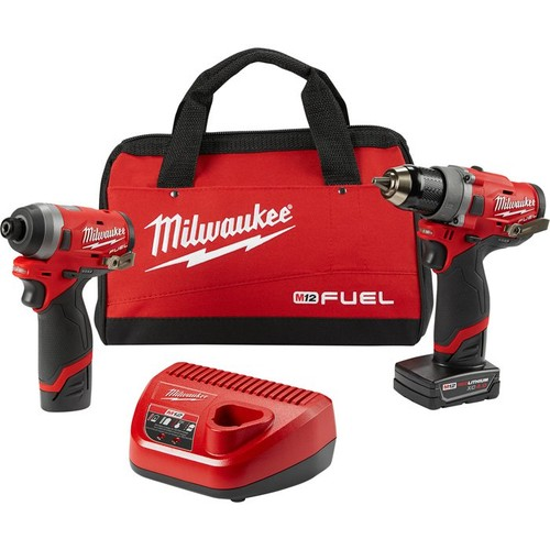 Milwaukee M12 FUEL 2-Tool Cordless Combo Kit  1/2in. Drill Driver and 1/4in. Hex Impact Driver, Model# 2596-22