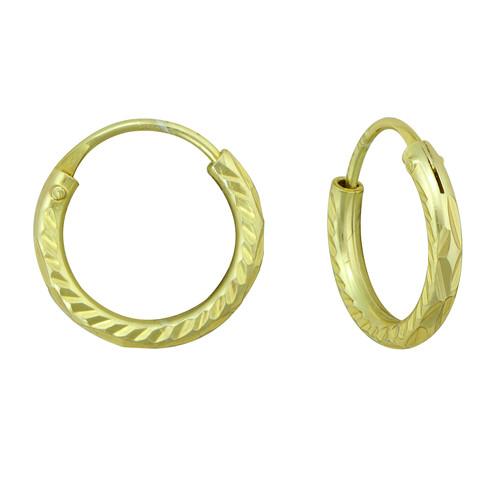 Gold over Silver Diamond Cut Hoop Earrings