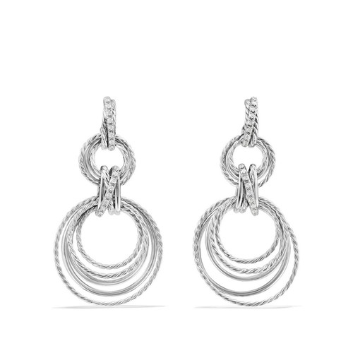 Crossover Double Drop Earrings with Diamonds