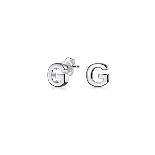 Bling Jewelry Modern Alphabet Letter G Initial Stud earrings 925 Sterling Silver 55mm