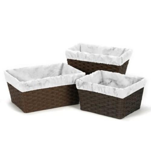 Sweet Jojo Designs Marble Basket Liners in Black/White (Set of 3)