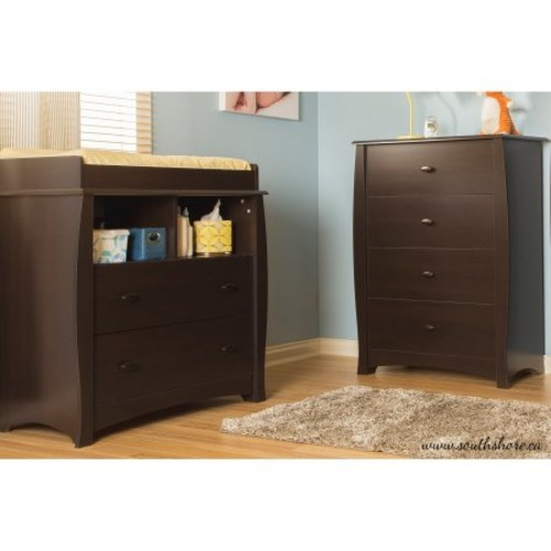 South Shore Beehive Changing Table with Removable Changing Station and 4-Drawer Chest - Espresso