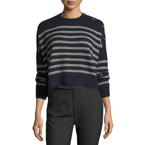 BRUNELLO CUCINELLI Striped Cashmere Cropped Sweater, Navy/Charcoal