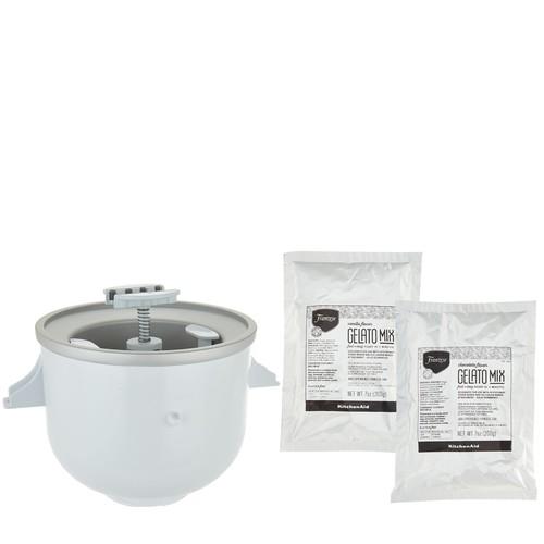 KitchenAid Ice Cream Maker Attachment with (2) Gelato Mix Packs