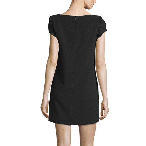 SAINT LAURENT Woven Cap-Sleeve Shift Dress, Black