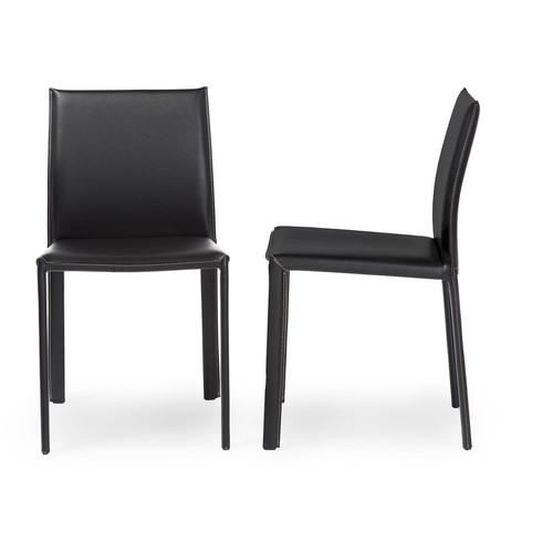 Black Burridge Leather Dining Chair (Set of 2)