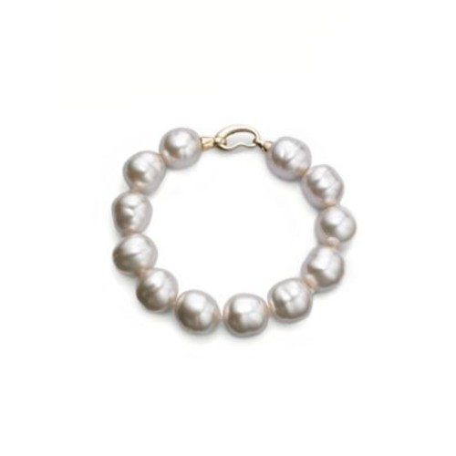 14MM White Baroque Pearl Strand Bracelet