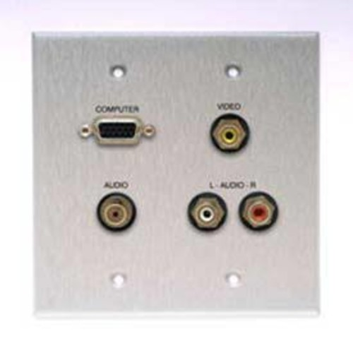 Comprehensive Wallplate with VGA, Stereo Mini, and 3 RCA Connectors
