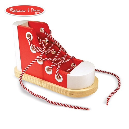 Melissa & Doug Deluxe Wood Lacing Sneaker - Learn to Tie a Shoe Educational Toy [Standard]