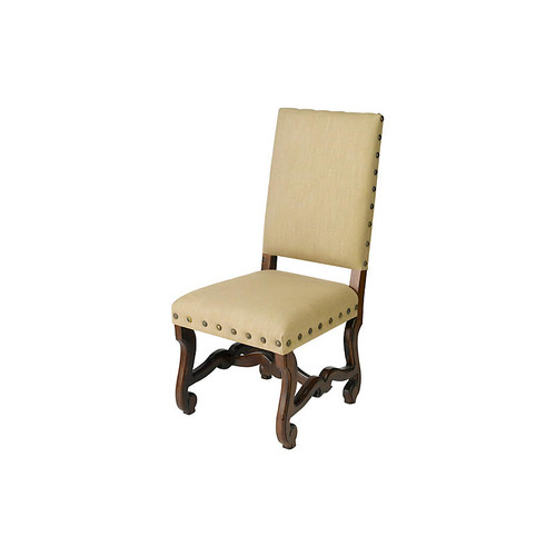 Beige Ava Linen Side Chairs, Pair