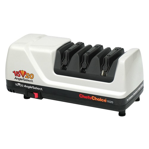 ChefsChoice AngleSelect 1520 Diamond Hone Electric Knife Sharpener for 15 and 20-degree Knives 100-percent Diamond Abrasives Stropping Precision Guides, Manufactured in US, 3-Stage, White [White, None]