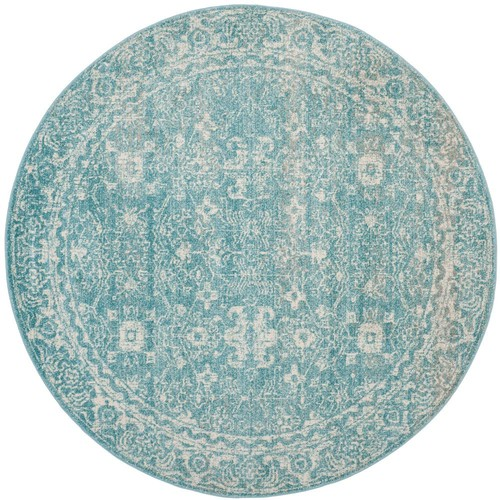Safavieh Evoke Light Blue/Ivory 5 ft. 1 in. x 5 ft. 1 in. Round Area Rug