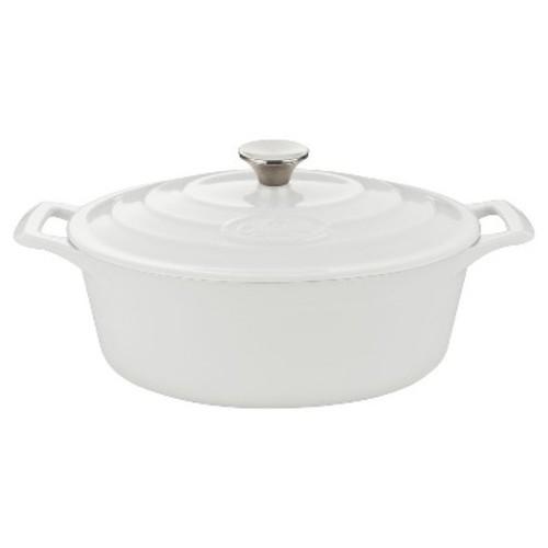 La Cuisine LC 6180 Oval 4.75 Qt. Cast Iron Casserole - White