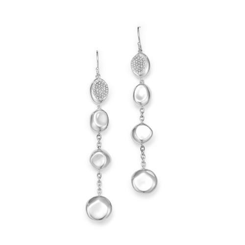 Sterling Silver Onda Diamond Linear Drop Earrings