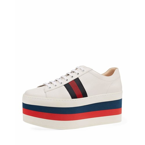 GUCCI Peggy Striped Platform Sneaker, White