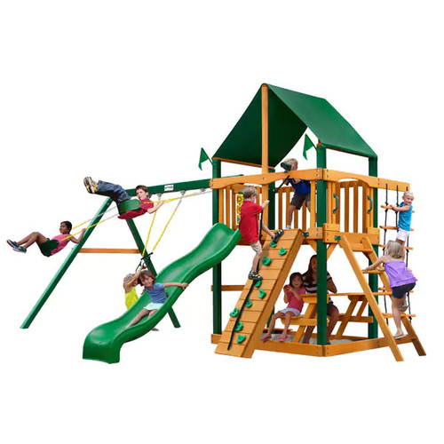 Gorilla Playsets Chateau w/ Timber Shield and Sunbrella Canvas Forest Green Canopy