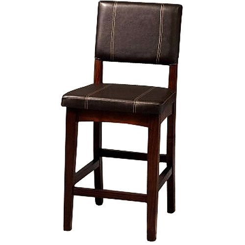 Linon Milano Collection Counter Stool, Walnut, 24 inch Seat Height