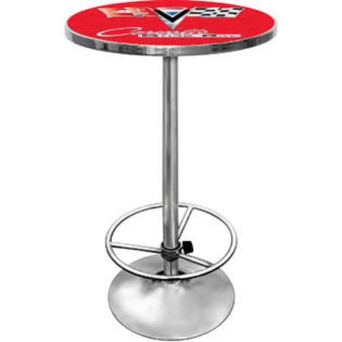 TRADEMARK GLOBAL CORVETTE C2 RED CHROME PUB TABLE