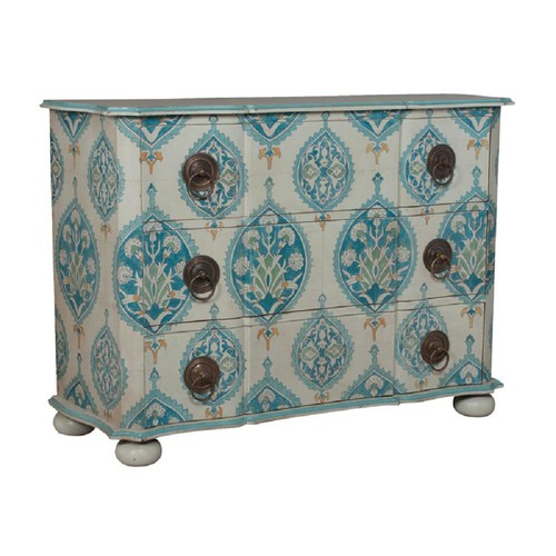 Titan Lighting Duchess 3-Drawer White and Blue Floral Chest