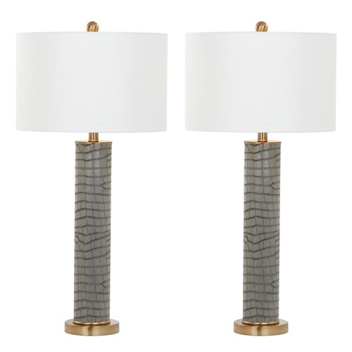 Safavieh Ollie 31.5 in. Grey Faux Alligator Table Lamp (Set of 2)