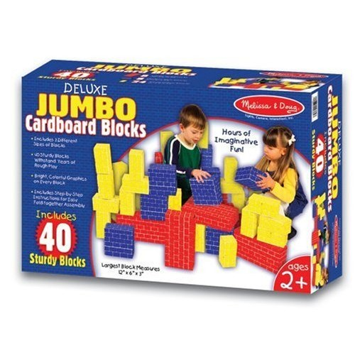 Melissa & Doug Jumbo Extra-Thick Cardboard Building Blocks - 40 Blocks in 3 Sizes: Melissa & Doug: Toys & Games