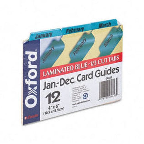 Oxford 04613 Laminated Index Card Guides- Monthly- 1/3 Tab- Manila- 4 x 6- 12/Set