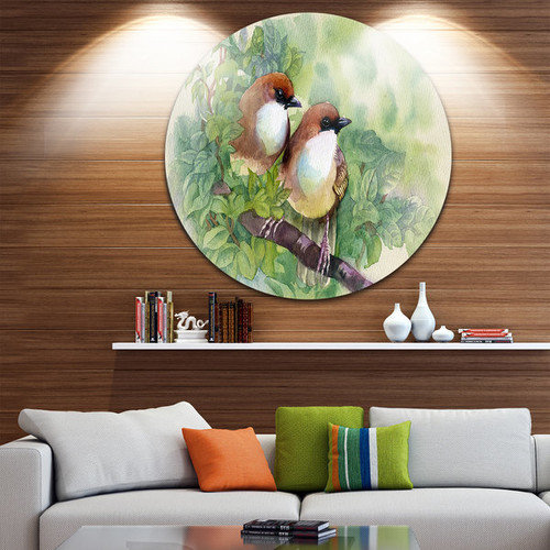 Designart 'Birds of Spring' Modern Animal Painting Disc Metal Artwork