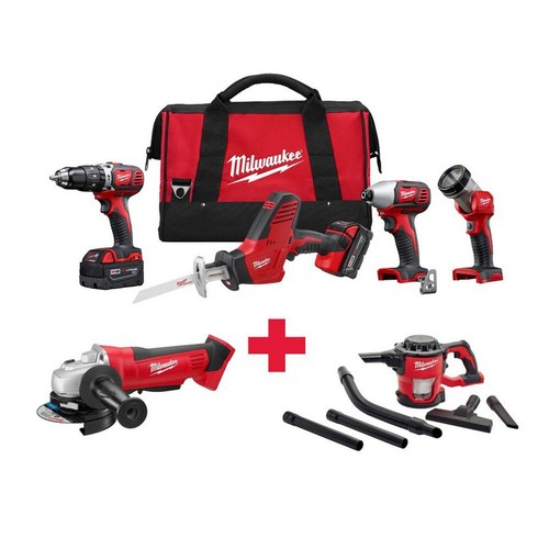 Milwaukee M18 18-Volt Lithium-Ion Cordless Combo Kit (4-Tool) with Free M18 Grinder and M18 Vacuum
