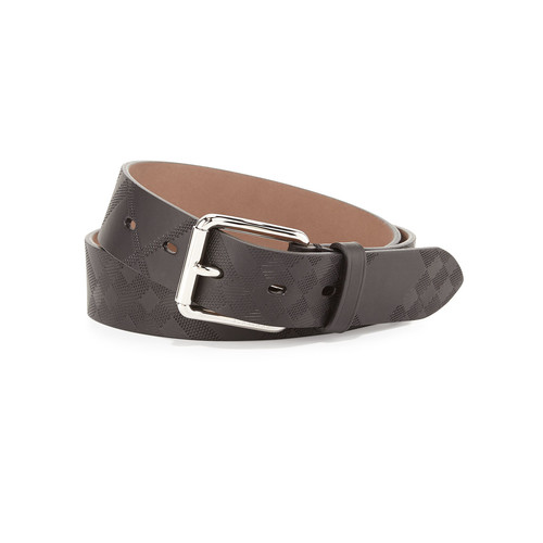 BURBERRY Mark Embossed-Check Leather Belt, Black