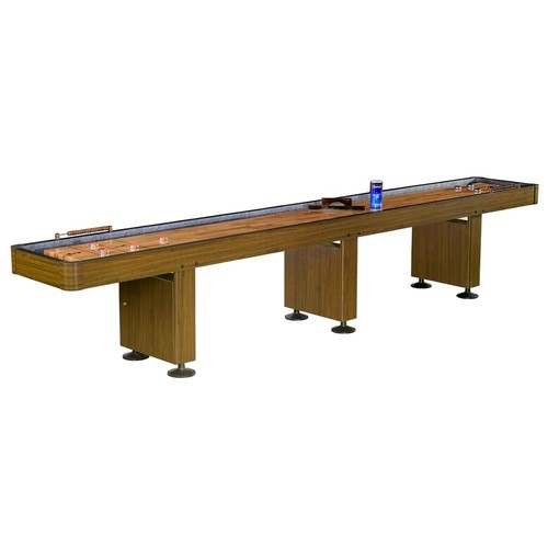 Hathaway Challenger 14 ft. Shuffleboard Table w Walnut Finish, Hardwood Playfield, Storage Cabinets