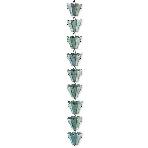 Good Directions 13-Cup Tulip Rain Chain in Blue Verde