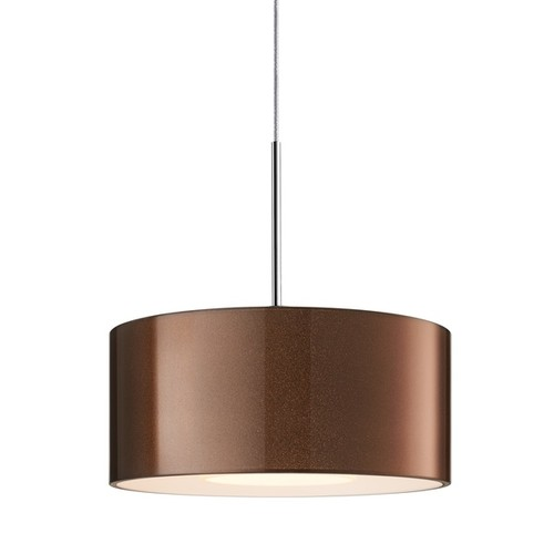 Bruck Lighting Cantara Chrome LED 4-inch Canopy Pendant with Bronze Outer/White Inner Glass Shade