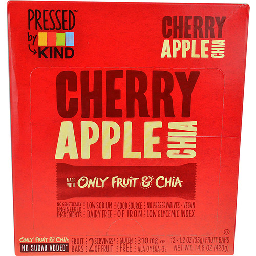Kind Pressed Dried Fruit Bars Cherry Apple Chia -- 12 Bars