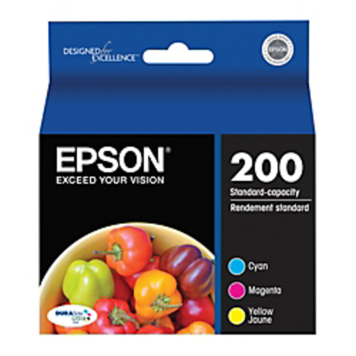 Epson 200, (T200520) DuraBrite Ultra Standard-Capacity Color Ink Cartridges, Pack Of 3