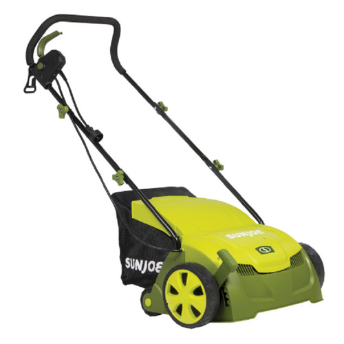 Sun Joe AJ801E 13-Inch 12-Amp Electric Scarifier + Lawn Dethatcher w/ Collection Bag