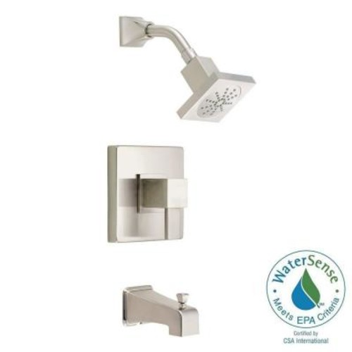 Danze Reef 1-Handle Pressure Balance Tub and Shower Faucet Trim Kit in Brushed Nickel (Valve Not Included)