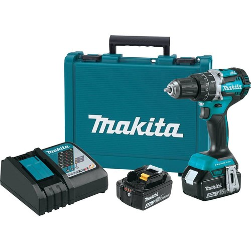 Makita 18-Volt LXT Lithium-Ion Brushless Cordless 1/2 in. Hammer Driver-Drill Kit with (2) Batteries(4.0Ah), Charger, Hard Case