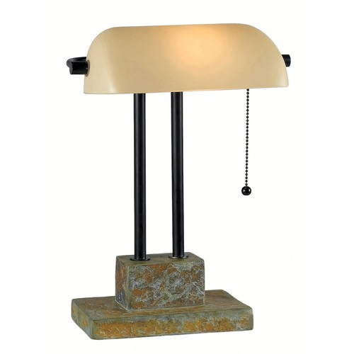 Kenroy Home Greenville 15 in. Natural Slate Banker Lamp