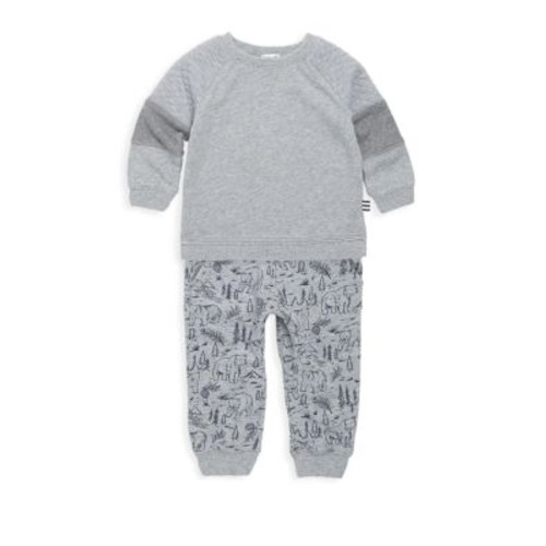 Baby's Two-Piece Heathered Top & Printed Pants Set