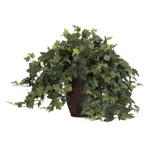 Nearly Natural 21 in. H Green Puff Ivy with Decorative Vase Silk Plant