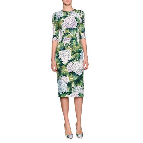 DOLCE & GABBANA Hydrangea-Print Elbow-Sleeve Dress, Green Pattern