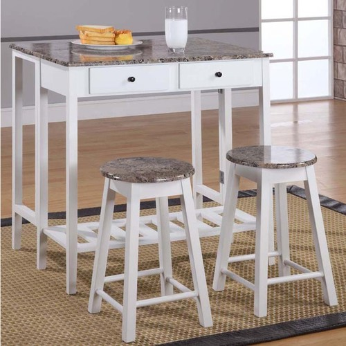 K and B Furniture Co Inc Bar & Pub Table Sets Marble Veneer-top 3-piece Breakfast Pub Set