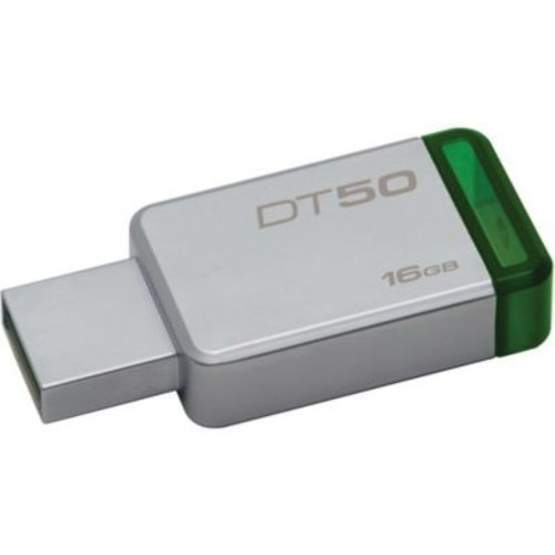 Kingston DataTraveler 50 16GB 30 Mbps Read/5 Mbps Write USB Flash Drive, Metal Green (DT50/16GB)