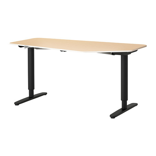 BEKANT 5-sided desk, sit/stand, white