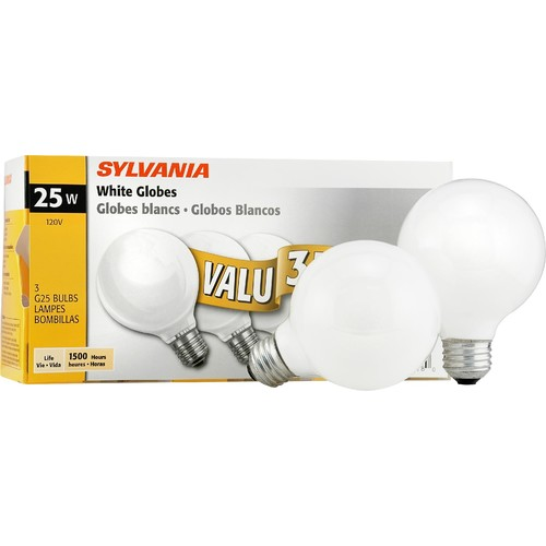 Sylvania Incandescent Soft White Globe Lamp G25-Medium Base 120V Light Bulbs 25W - 3 Pack