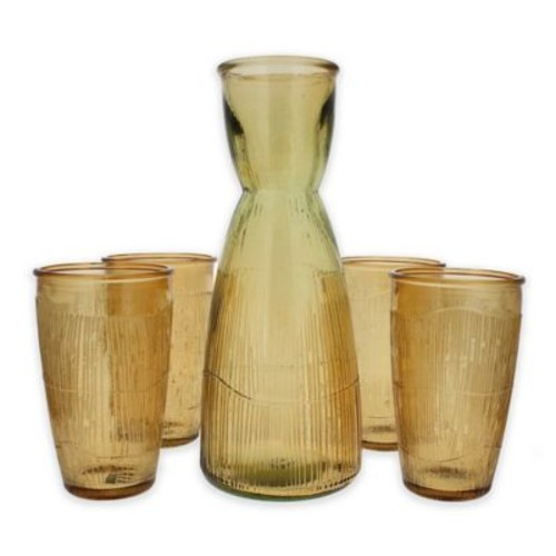 French Home Birch 5-Piece Decanter and Tumbler Set in Caramel