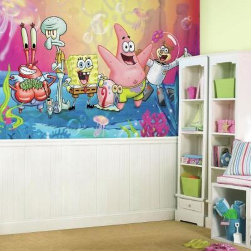 RoomMates 72 in. x 126 in. SpongeBob Square Pants XL Chair Rail 7-Panel Pre-Pasted Wall Mural