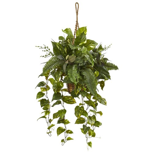 Nearly Natural Indoor Mixed Pothos and Boston Artificial Fern in Hanging Basket